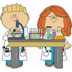 Clipart Science Cartoon Scientist Clip Line Table
