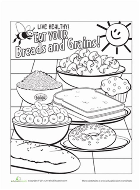 food groups coloring page breads  grains school