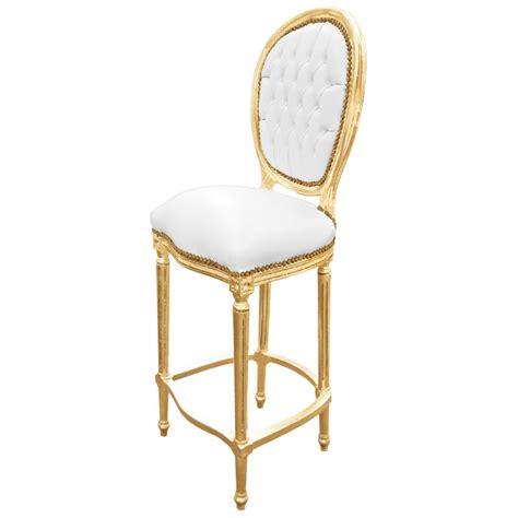 chaise de bar blanc chaise de bar style louis xvi simili cuir blanc et bois doré