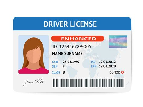 Flat Woman Driver License Plastic Card Template, Id Card
