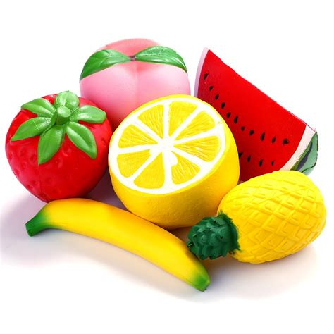 squishy jumbo rising fruit 6 pcs strawberry banana pineapple lemon 747100278365 ebay