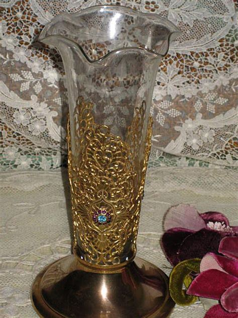 vintage jeweled lacy gold metal vase wruffled glass