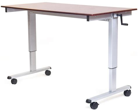 Office Desk On Wheels by Computer Stand W Crank Ergonomic Technology Desk