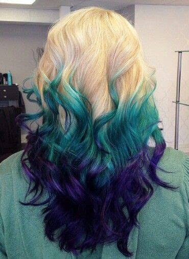 blonde teal blue purple dyed ombre hair color atiluvpibbles