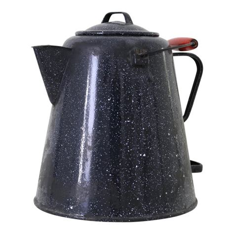 Ss coffee maker pot stovetop espresso induction cooker convenient use tool hot. Graniteware Cowboy Coffee Pot   Chairish