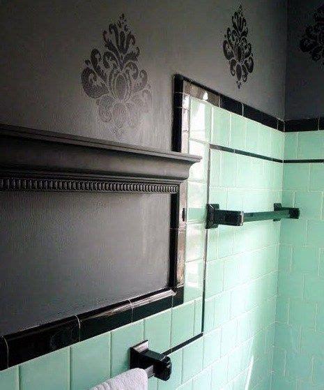 vintage black  gray tile bathroom mint green