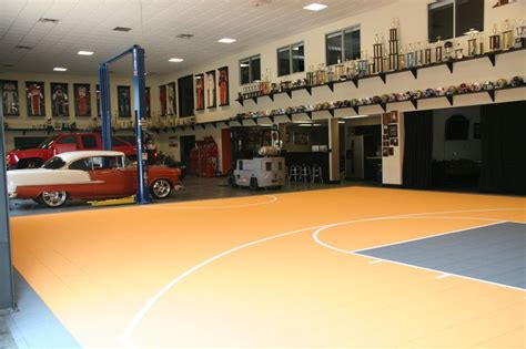 indoor basketball court   large warehouse type garage