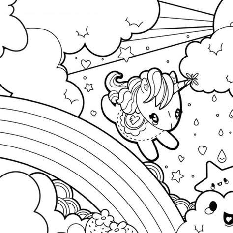 unicorn coloring pages rainbow pretty worksheet