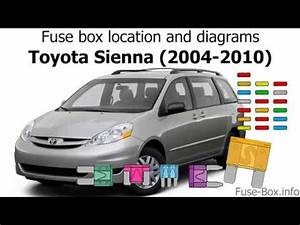 Fuse Box Location And Diagrams  Toyota Sienna  2004