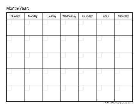 Blank Monthly Calendar Template Monthly Calendar Template Organizing