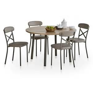 table de cuisine ronde avec allonge lustra