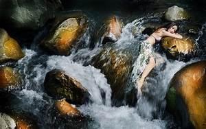 Wallpaper, Waterfall, Women, Outdoors, Model, Rock, Nature