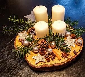 Basteln Mit Baumscheiben : diy adventskranz auf einer baumscheibe mum and cherry ~ Watch28wear.com Haus und Dekorationen