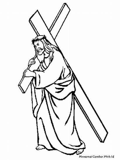 Yesus Gambar Mewarnai Untuk Salib Coloring Membawa