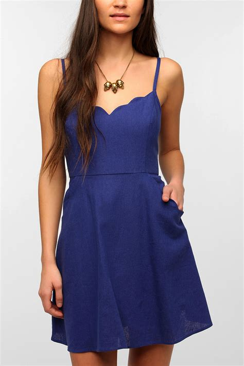 lyst urban outfitters cope scallop trim linen dress  blue