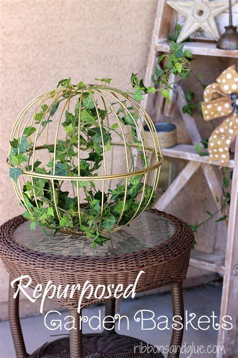 repurposed hanging garden baskets