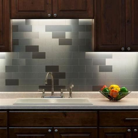 stick on backsplash for kitchen stainless steel tiles peel and stick for kitchen