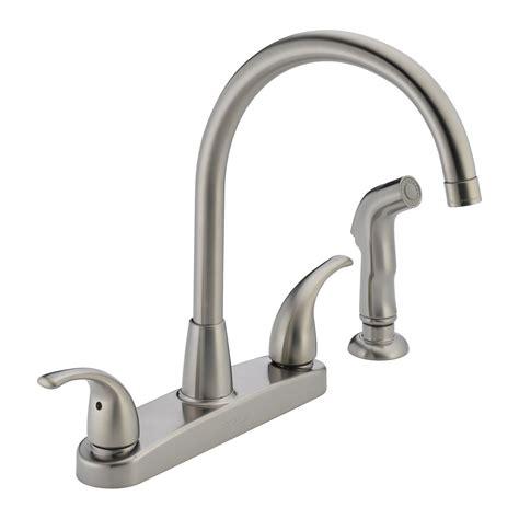 custom kitchen faucets delta faucet p299578lf choice 2 handle side sprayer