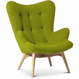Fauteuil Scandinave Vert : fauteuil tissu cachemire vert olive campeur ~ Teatrodelosmanantiales.com Idées de Décoration