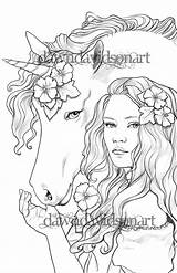 Coloring Pages Adults Friends Unicorn Colouring Books Adult Printable Sheets Fantasy Fairy Three sketch template