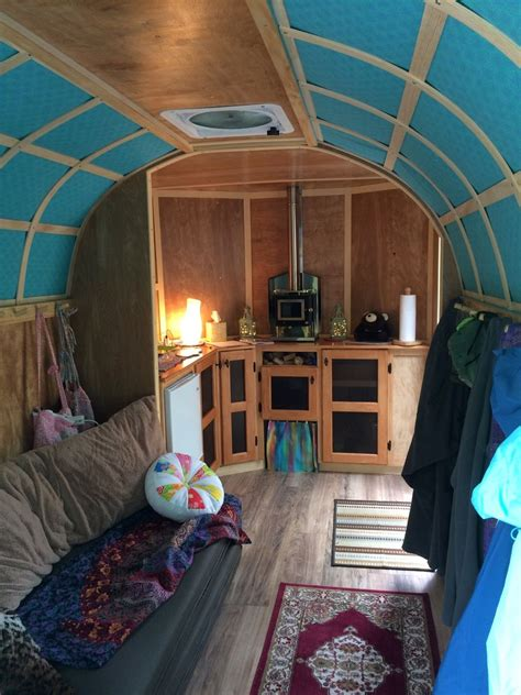 cargo trailer camper conversion couch  left opens