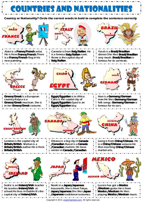countries  nationalities  vocabulary exercise worksheet