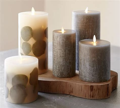pottery barn candles premium flickering flameless wax candles eucalyptus