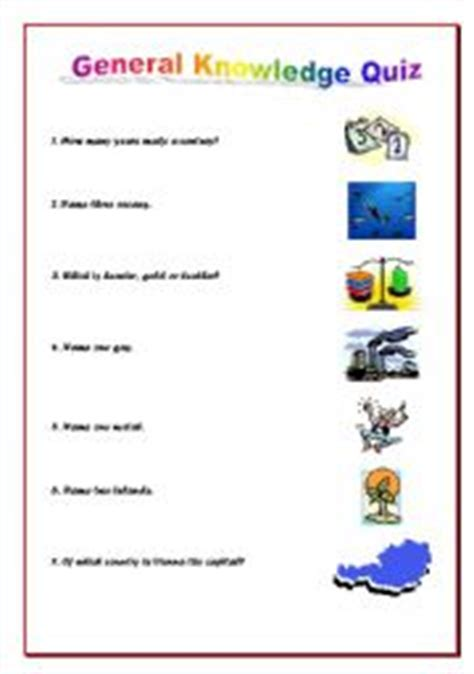 english worksheets general knowledge quiz