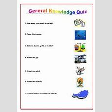 English Worksheets General Knowledge Quiz