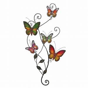 shop woodland imports 22 in w x 31 in h frameless metal With what kind of paint to use on kitchen cabinets for outdoor metal butterfly wall art