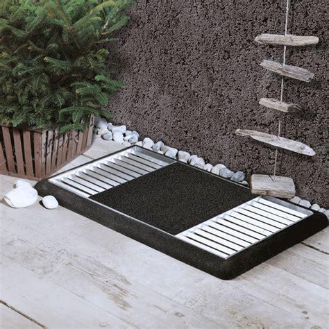 cubic paillasson design grille 80x40cm avec tapis caoutchouc noir