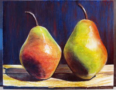 pears in oil pastel