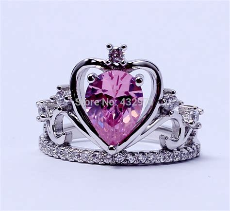 crown shaped engagement rings 925 sterling silver cz princess crown shaped design costume engagement wedding