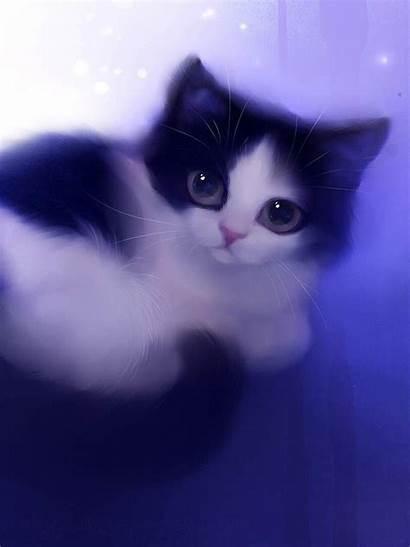 Cat Cartoon Purple Wallpapers Kitty Painting Ipad