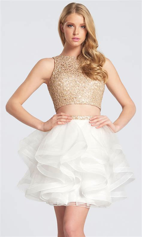 Short Two-Piece Metallic Lace Top Homecoming Dress