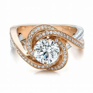 custom rose gold and platinum diamond engagement ring 100822 With rose gold wedding band with platinum engagement ring