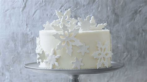 fondant snowflakes garnish homemade white cake recipe southern living