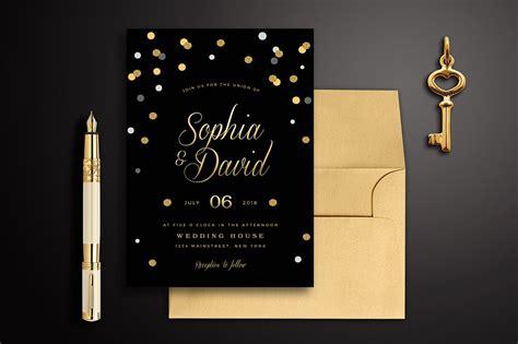 Black & Gold Wedding Invitation ~ Wedding Templates