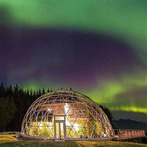 geodesic dome protects  house  family    arctic