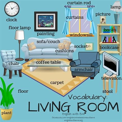 Living Room Vocabulary With Pictures vocab living room 1 esl beginners