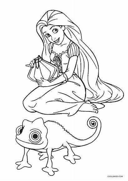 Coloring Tangled Pages Rapunzel Printable Pascal Sheets