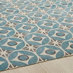 Tapis En Coton : tapis en coton bleu motifs 140x200 blocalia maisons du ~ Nature-et-papiers.com Idées de Décoration