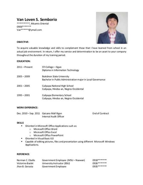 sample resume  ojt job resume examples sample resume