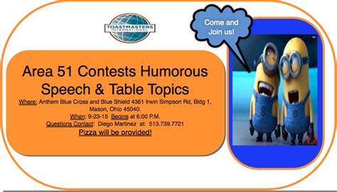 toastmasters table topics questions area 51 humorous speech and table topics contest tickets