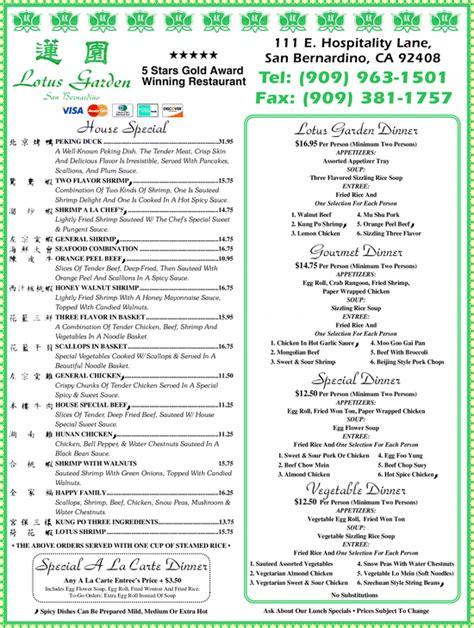 photos for lotus garden menu lotus garden menu san bernardino ca garden ftempo
