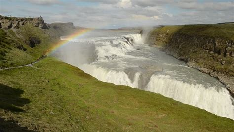 Gullfoss Waterfall In Iceland Stock Footage Video 4240733