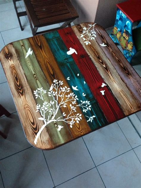 Kitchen Table Refinishing Ideas - faux wood painted table top whimsical bohemian painted furniture pinterest faux wood paint