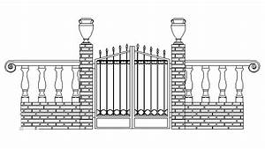 autocad drawing iron work gate and fence dwg With driveway gate plan view diagrams drawings electric gate layouts