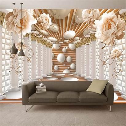 Living Flower Murals Abstract Mural Column Bedroom