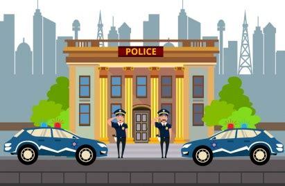 police station facade design colored cartoon decor vectors